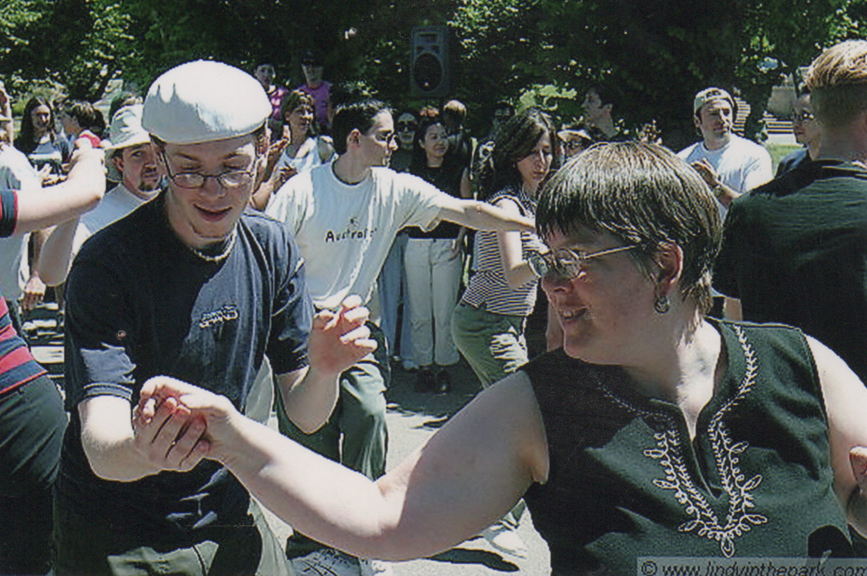Jodi swing dancing at Lindy In The Park. 2008.