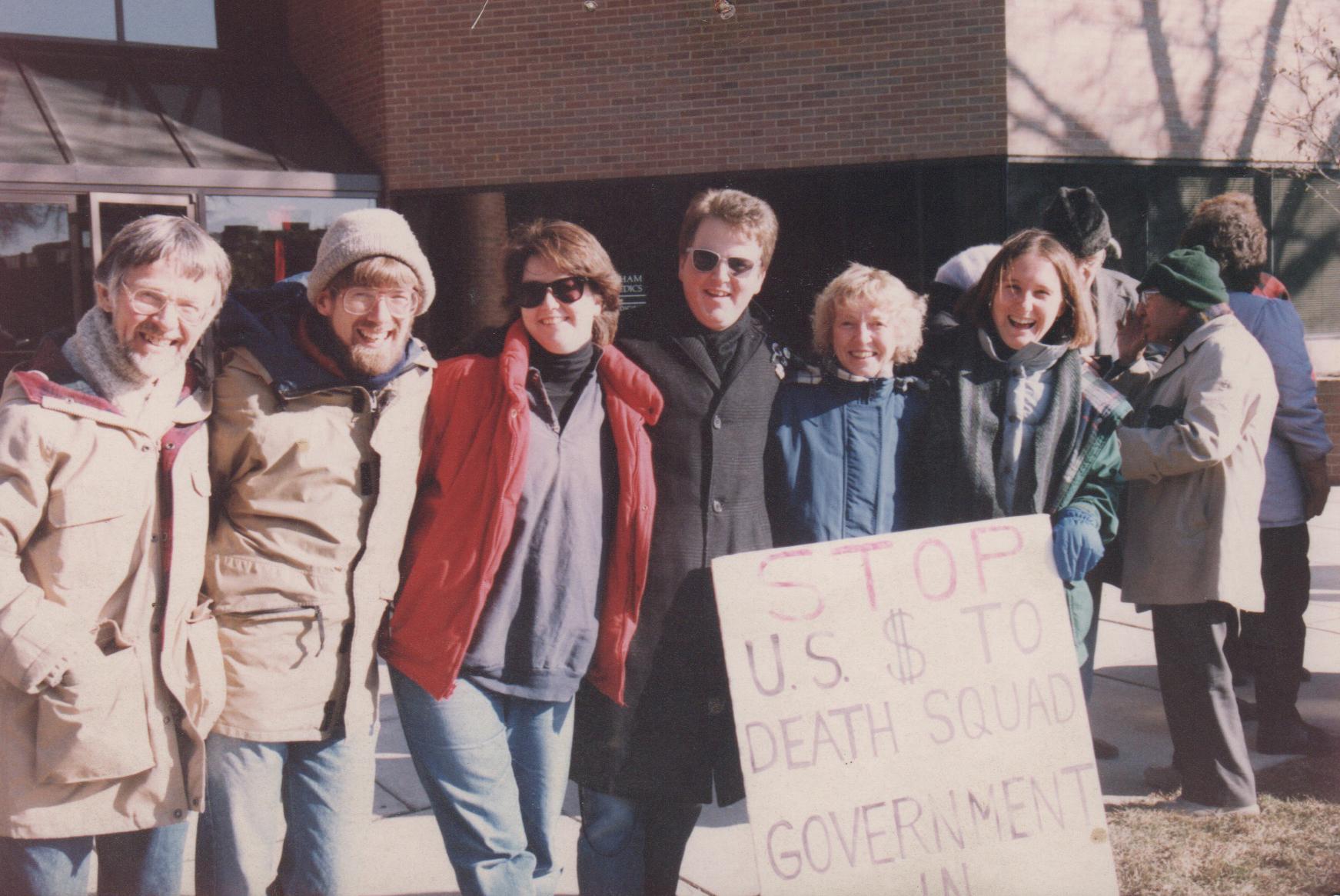 Protesting US aid to death squads in Central America. Doug Lent, Tom Lent, Elizabeth Loring, William Loring, Pat Lent, Martha Crusius. 1980s.