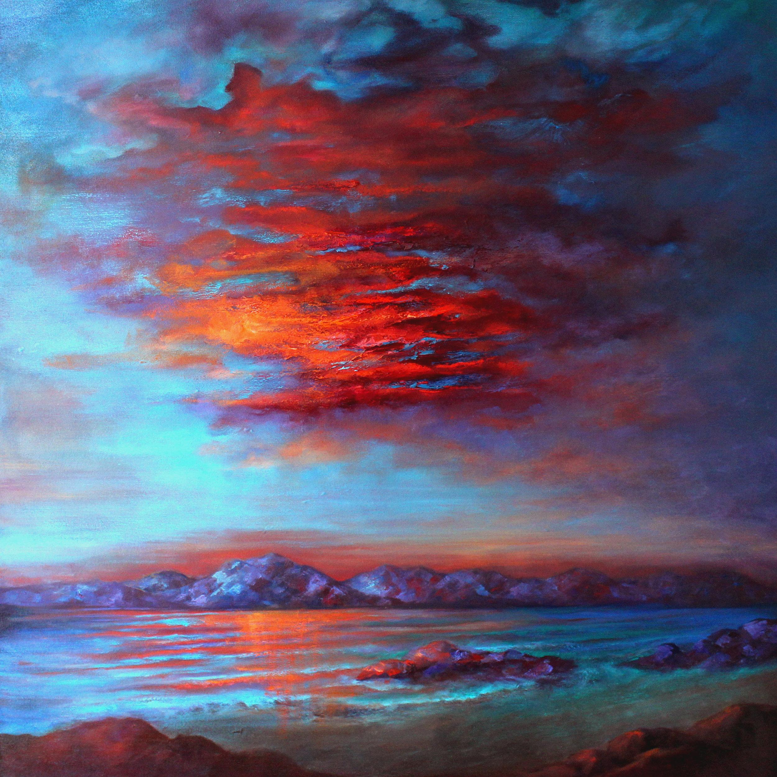 """FLASH OF INSIGHT""  Original Oil on Canvas, 36 x 36 x 2.5""d, $3,500"