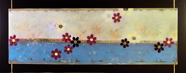 Imagine 21x53in latex, enamel, acrylic, graphite and resin on wood framed    $1750