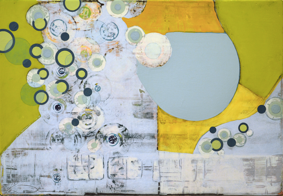Birds Eye View 12x20  latex, enamel, acrylic, graphite and resin on wood panel.  $575