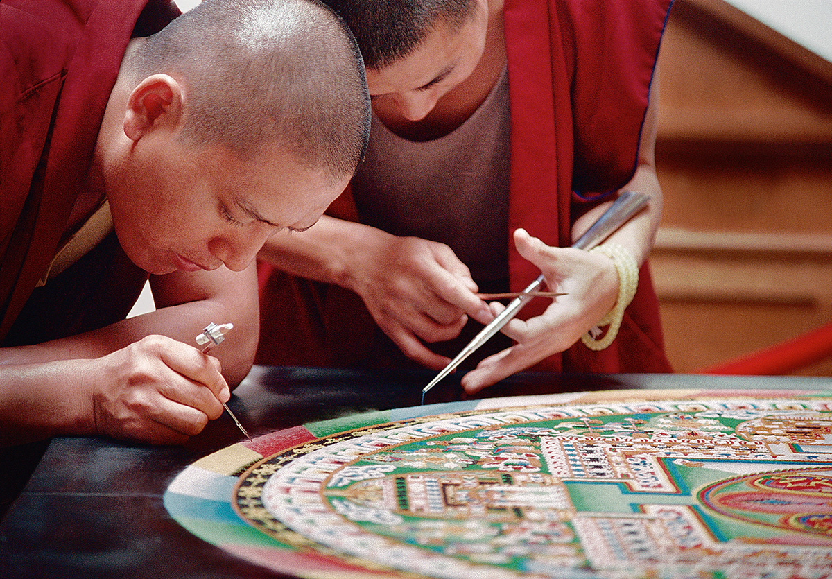Tibetan Monks with Sand Mandala, Portland, Oregon