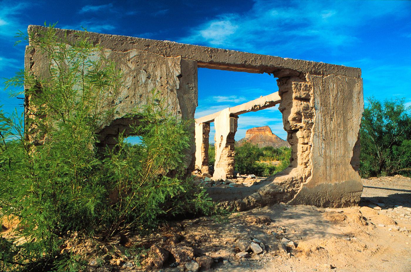 Old Building with Cerro Castellan, Santa Elena, Mexico