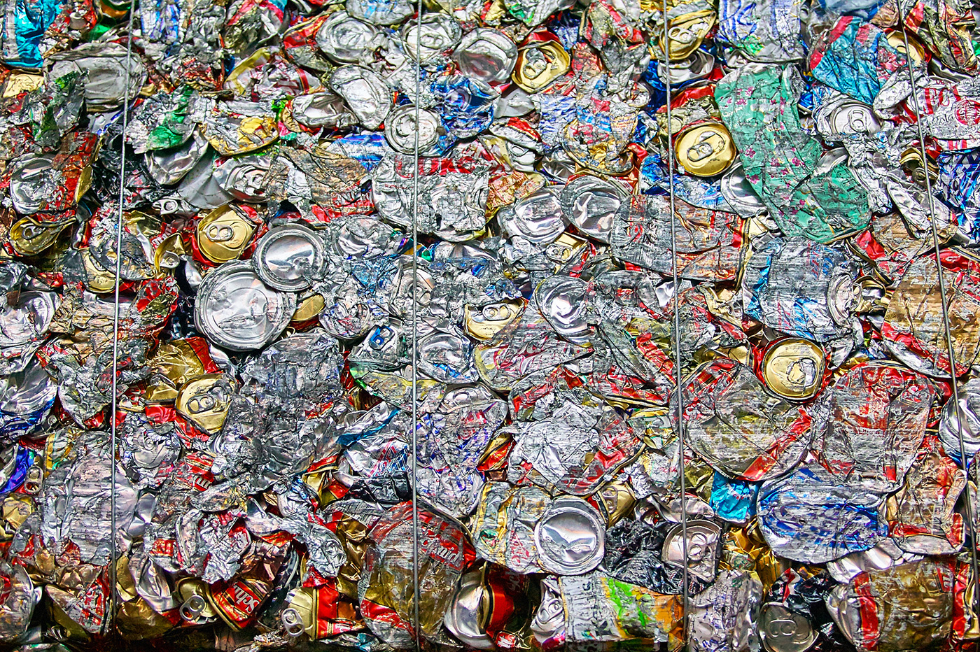 Bales of Aluminum Cans for Recycling, Portland, Oregon