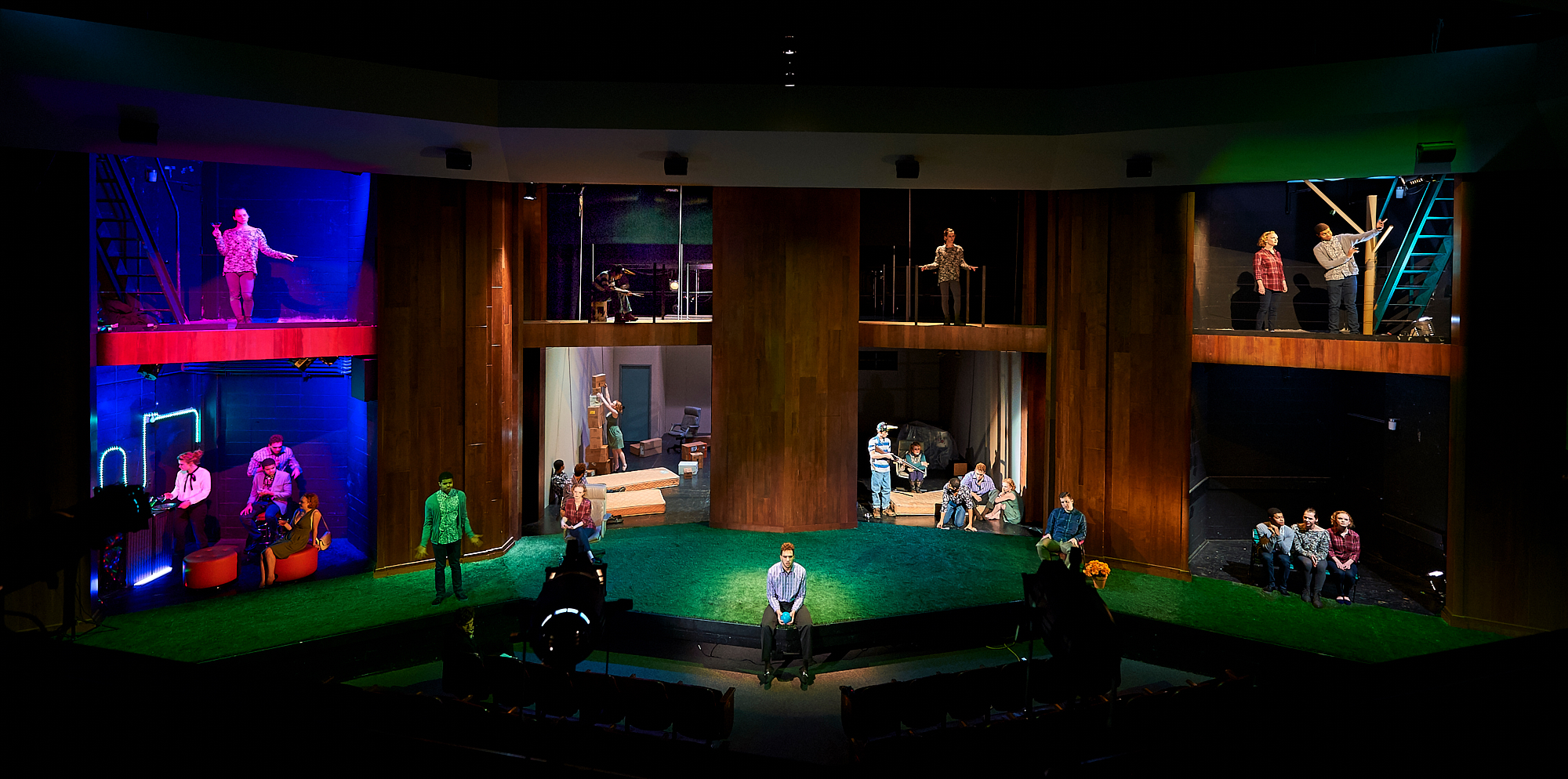 "Composite image of Colgate University theater students contemporaneously performing the scenes from their spring production of A Map of Virtue, an Obbie award winning new American play by Erin Courtney. Directed by April Sweeney, Scenic and Costume Design by Anya Klepikov, Sound Design by Mike ""Dnksongs"" Weiss, Lighting Design by Jason Alexander '17, Performers - Dawdon Highland '19, Tanner Holley '16, Kit Keane '19, Tyler Maxie '18, Curtis Mitchell '18, Fjordi Mulla '19, Allison Spanyer '16"