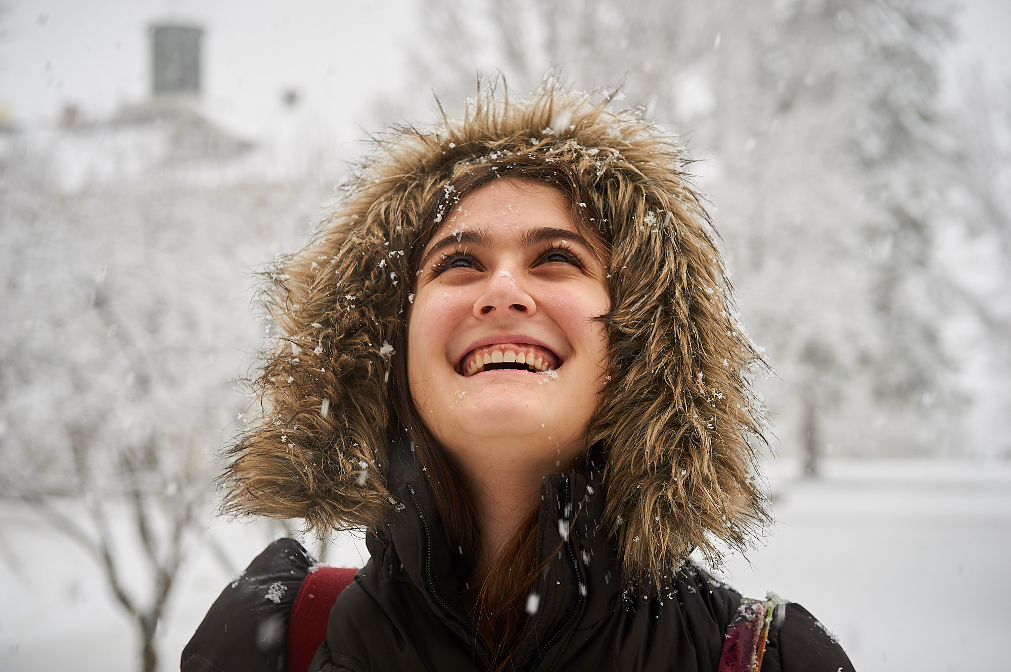 Michelle Cullen, Colgate University Class of 2015, from Atlanta, Georgia experiences her first snow storm on the Colgate University Campus