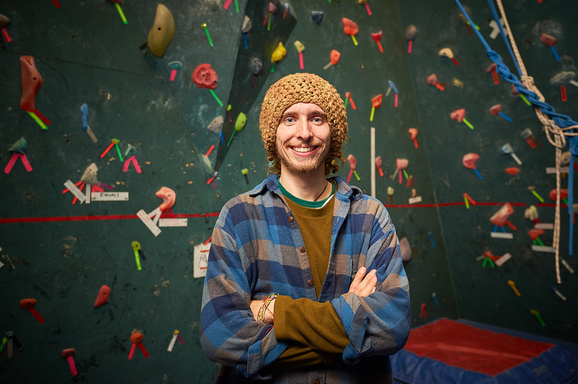 Evan Chartier, Colgate Class of 2014, photographed at the Angert Family Climbing Wall on the Colgate University Campus