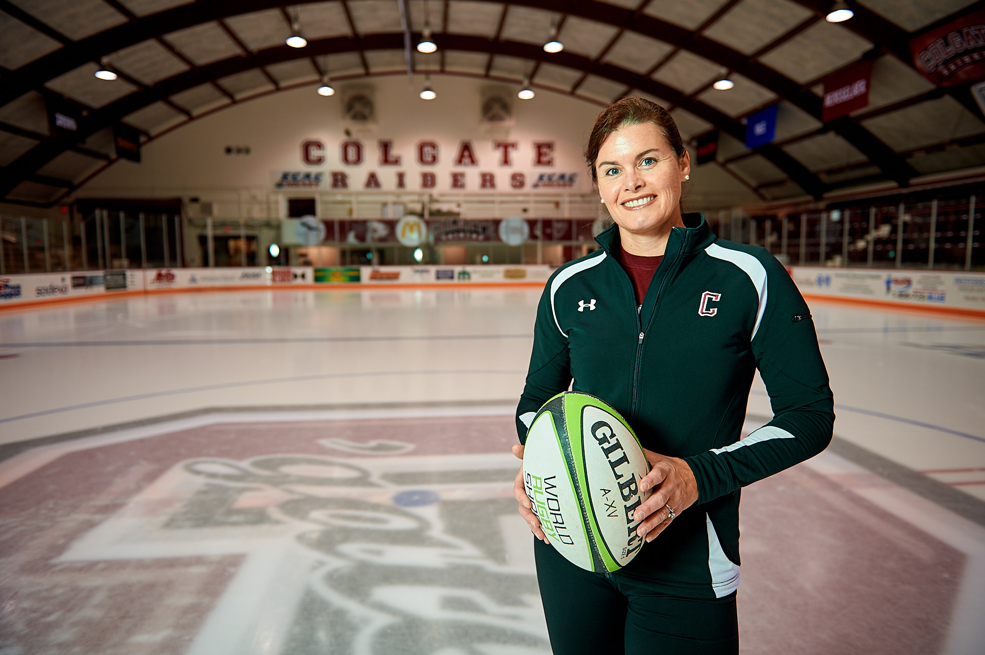 Ann-Marie Lemal, Coach of Figure Skating and the Rugby Club, photographed on the Ice at the Starr Hockey Rink on the Colgate University Campus