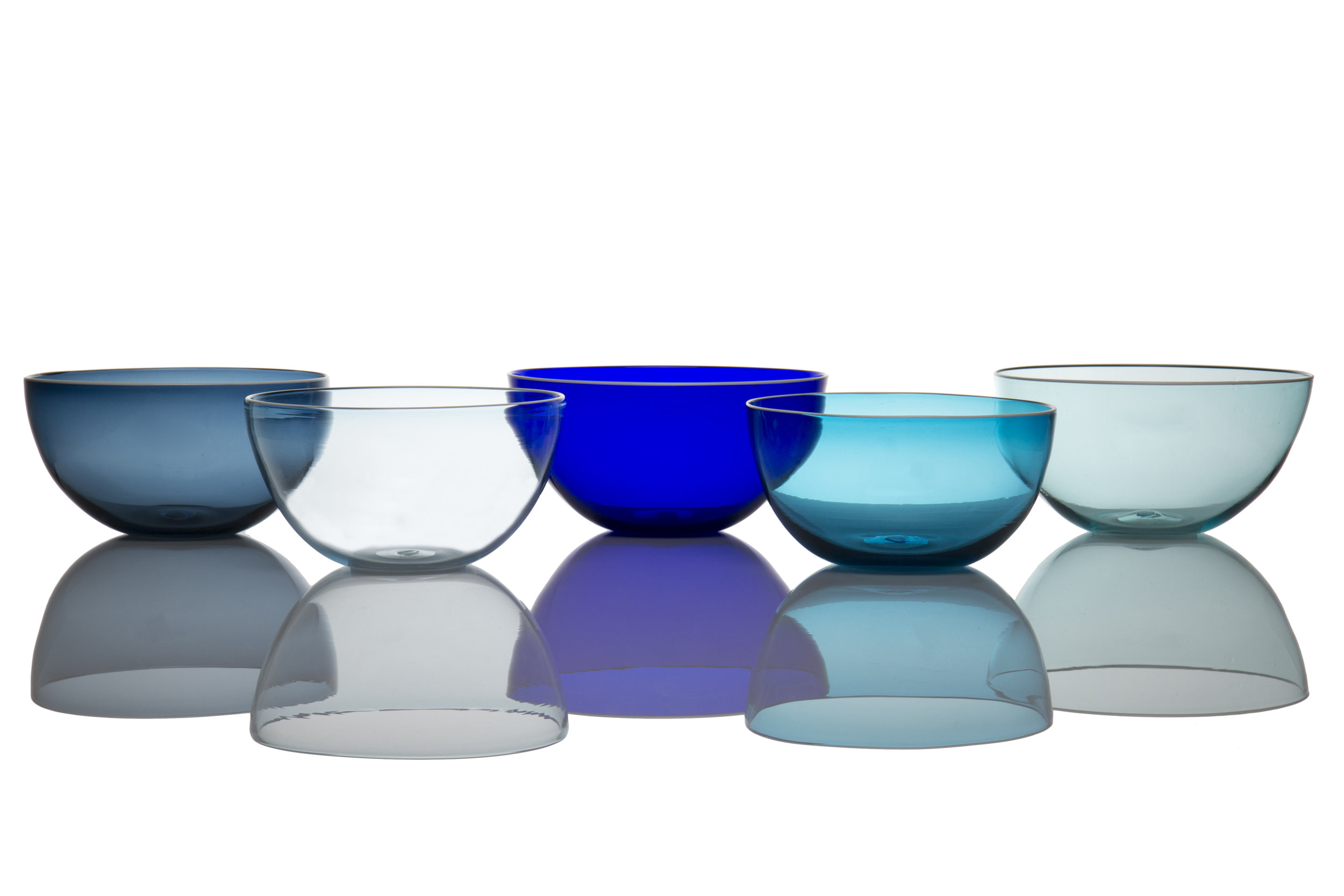 Colors from left to right: Steel Blue, Light Blue, Dark Blue, Aquamarine, and Copper Blue.