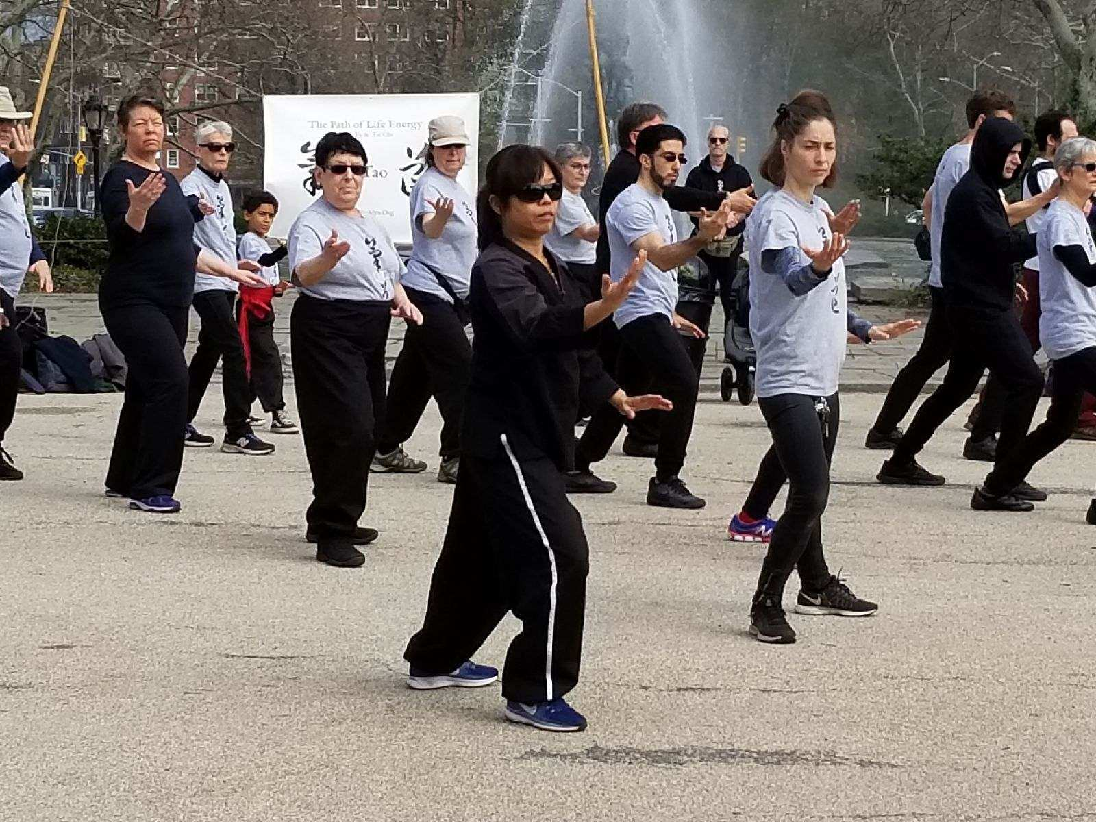 Sifu  Tzyann leading the World Tai Chi & Qigong Day at Grand Army Plaza 2018