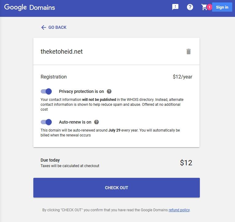 Google Domains Checkout Screen