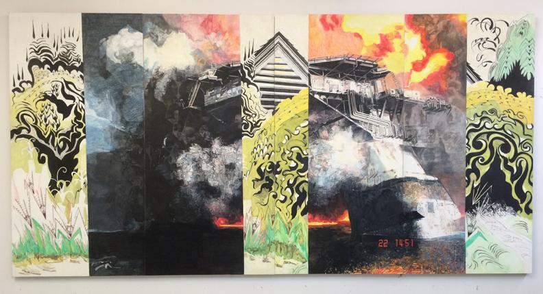 """Heather Holden,  Deep Water Horizon/Burchfield, 2012-  2016, 96"""" x 192"""" Neocolor and encaustic on gessoed birch"""