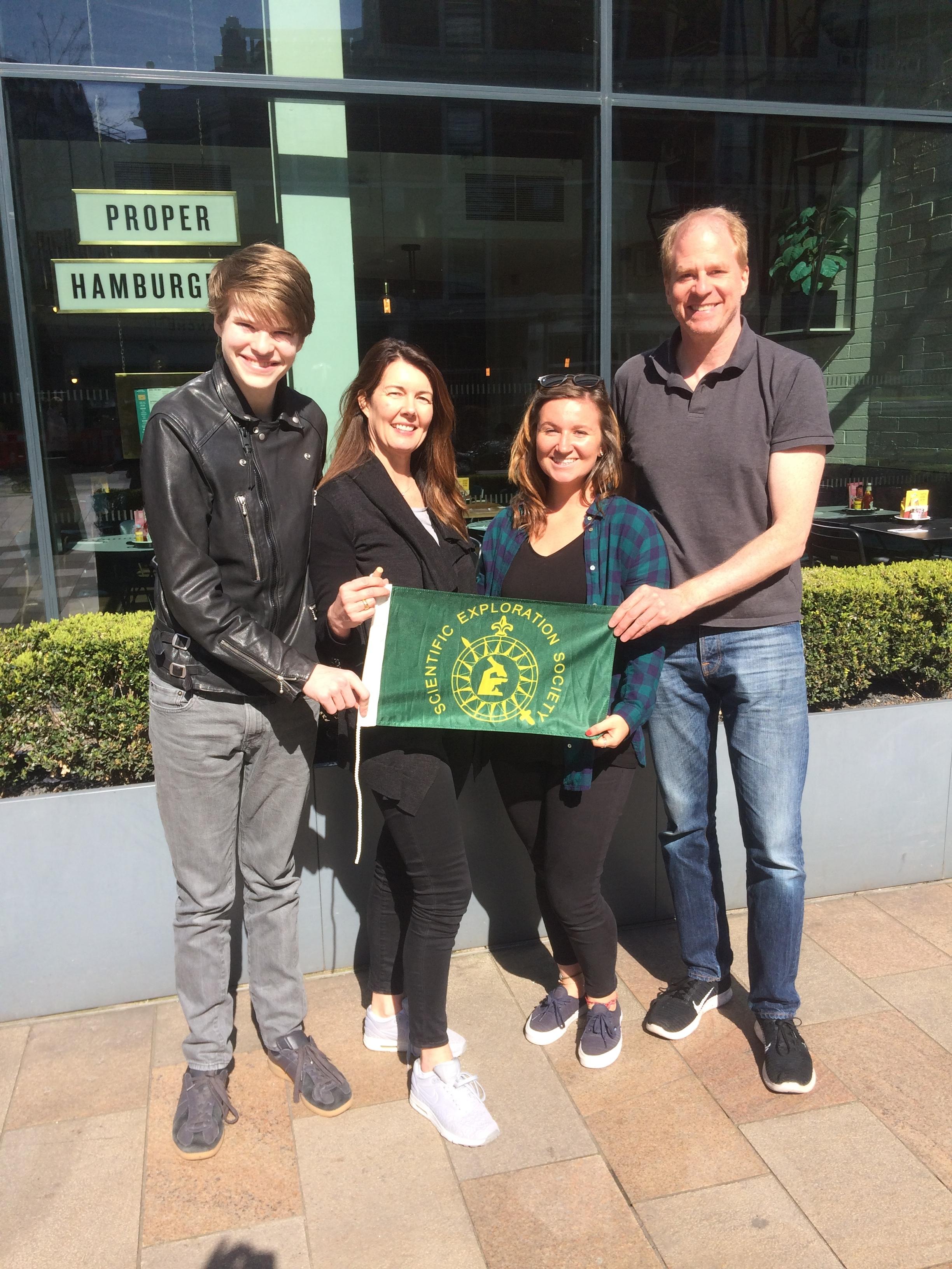 Elodies family presenting the SES flag to our new #pioneerwithpurpose Eleanor Flatt.