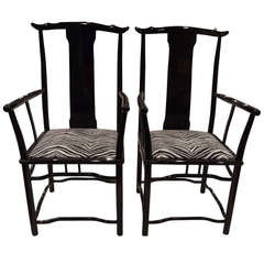 Pair of Black Lacquered Arm Chairs