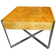 Milo Baughman Burled Table