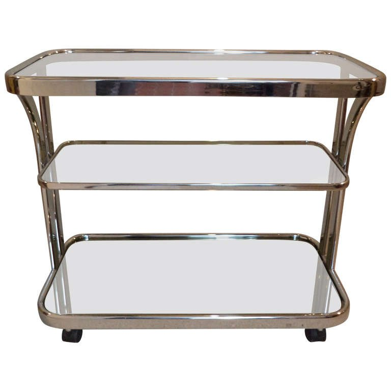 Mirrored Chrome Bar Cart