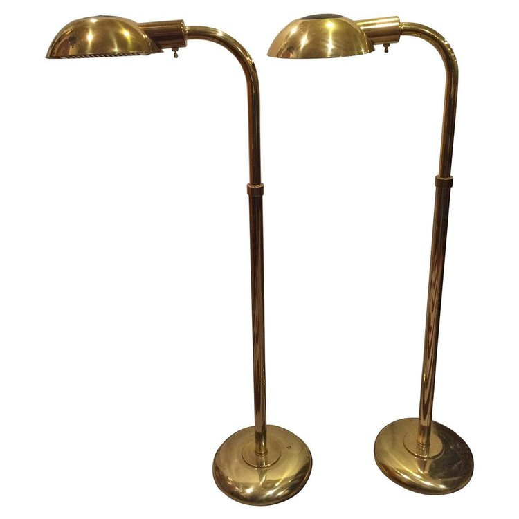 Pair Brass Floor Lamps