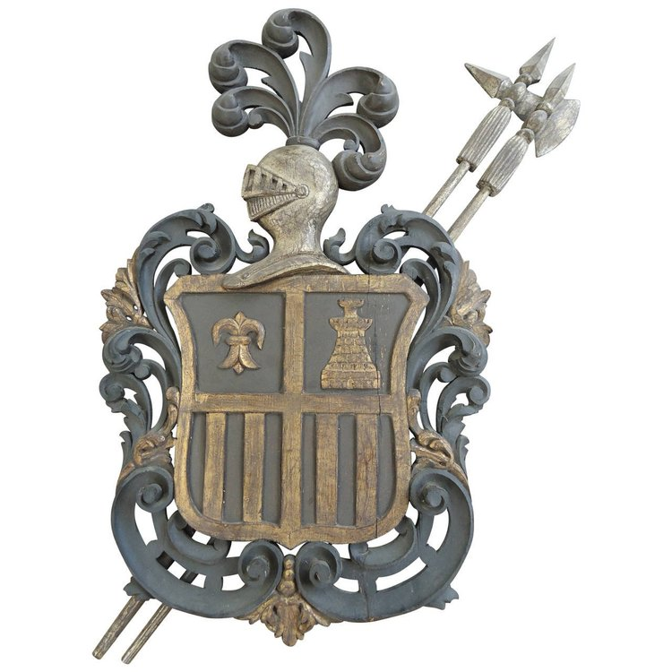 Carved Coat of Arms Crest