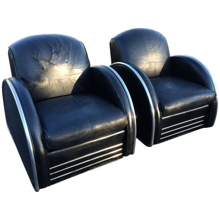 Leather Art Deco Club Chairs