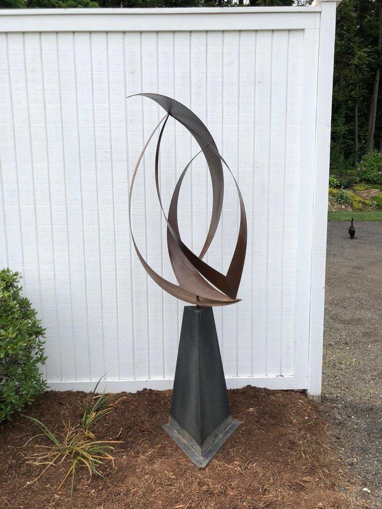 Large Mid Century Modern Abstract Garden Sculpture Fleur De Lis