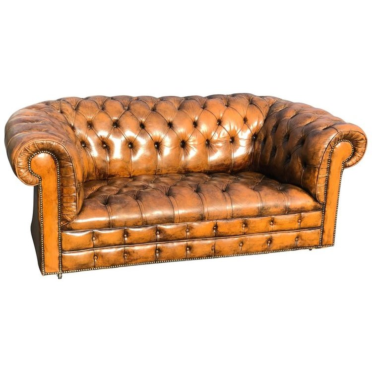 Leather Chesterfield Love Seat