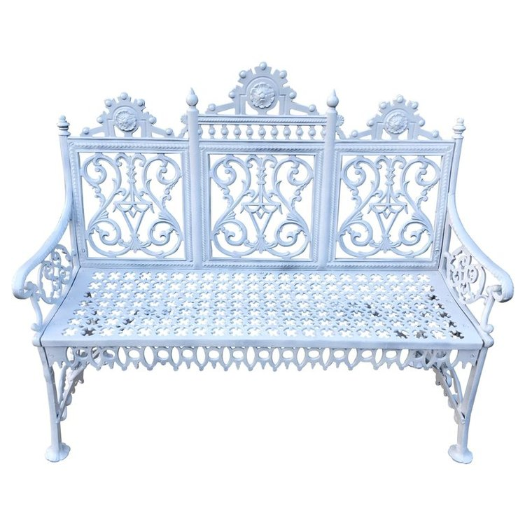 Antique Signed Cast Iron Bench