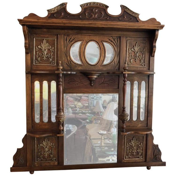 Large Antique Wooden Mirror