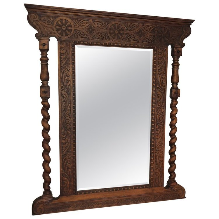 Carved Antique Oak Mirror
