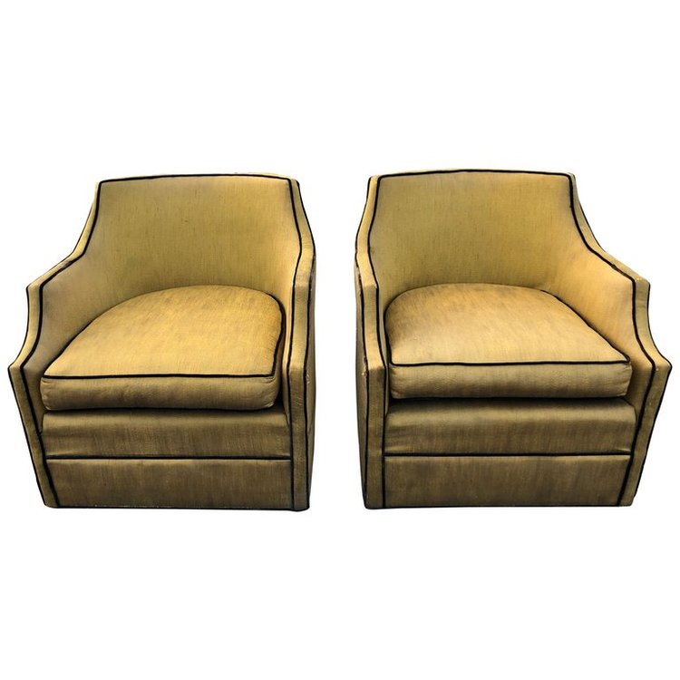 Pair of Silk Swivel Chairs