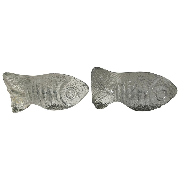 Pair Of Mid Century Modern Blenko Fish Bookends Fleur De Lis