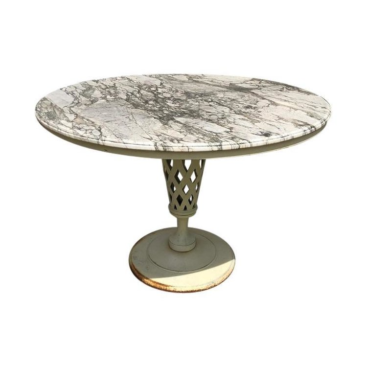Marble-Top Iron Patio Table