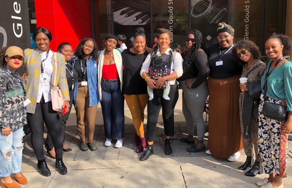 Some delegates of Black Women Film! Canada at TIFF 2018. From left to right: Angelyn Francis, Celestina Aleobua, Fiona Raye Clarke, Zipporah Yohannes, Isa Benn, Lameia Reddick, Ella Cooper (Founder) and baby, Christine, Sam, Barb Mamabolo, Rodas Dechassa. Not shown: Lu Asfaha, Alex Douglas, Dasola Dina, Carmine.