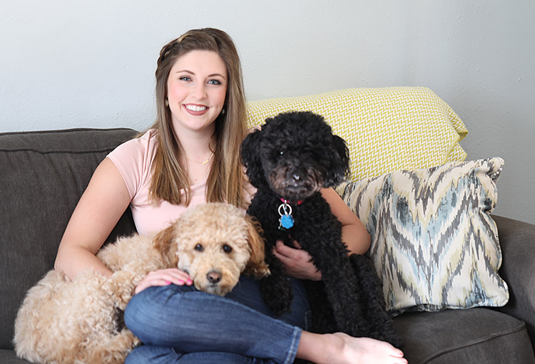 a childhood obsession with word art turned into a degree in graphic design - Hi, I'm Jackie Mabe—a wife, puppy mom to two lovable mini Goldendoodles and wedding stationer. I'd be honored to work together to create your dream wedding suite!