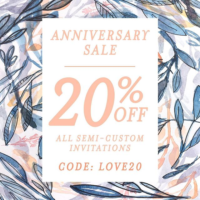 As promised, I've launched a ✨SALE✨ on invitations to celebrate our 6 year anniversary! From now until Friday, July 19 use code LOVE20 to receive 20% off semi-custom wedding invitations at www.mabedesignco.com. There are 8 different designs available in both the single 5x7 card and tri-fold invitation style and colors can be changed to fit your wedding style. Also, receive free shipping on orders over $500 with code FREESHIP. . The sale is perfect timing for those of you getting married this fall or winter! Digital design proofs will be emailed within 7 business days and you'll have invitations in your hands 4–6 weeks after final approval. Click the link in my bio to shop by collection or, once in my website type 'wedding invitations' in the search bar. . Sale ends Friday, July 19, 2019 at 11:59 pm CST and is not valid for current customers. . . . #anniversarysale #weddingsale #2020weddings #weddingplanning #soontobemrs #newlyengaged #2020bride #weddings2020 #weddinginvitations #bridetobe #weregettingmarried #engaged #howheasked #wediowa #futuremrs #ohthatsdarling #stationerylove #utterlyengaged #wereengaged #shesaidyes #theknotweddings #flashesofdelight #theknot #midwestweddings #floralwedding #weddingstationery #budgetbride #budgetwedding #shopsmall #semicustominvitations