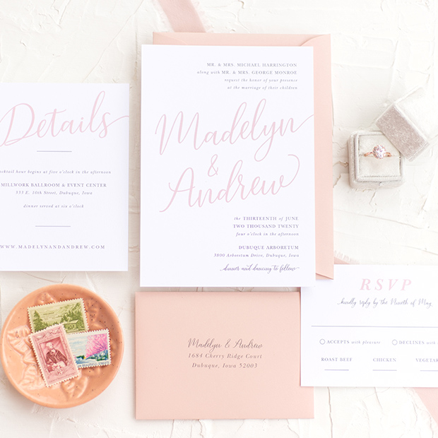 Step 2 - Now that you've found a design that fits your overall wedding aesthetic, you can begin adding pieces to your cart. I don't offer package deals because I want you to be able to purchase á la carte and only receive the items you truly desire.You'll notice that once you begin adding stationery items to your cart, a form will pop up where you can add all of your wedding day details. The information you provide for me will be used on your first proof, so please make sure it is accurate! It will be helpful to have your guest list ready so you know how many invitation suites to order (and don't forget to order a few extra for your photographer or to keep in your wedding scrapbook!)If you have questions or would rather speak to me directly before you order, fill out the form on my contact page and we can schedule a phone consultation or in-person meeting (if you're local!)