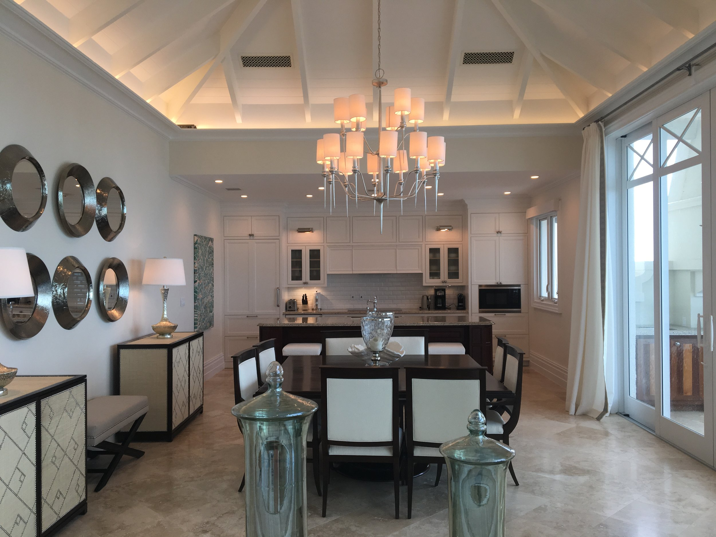 The kitchen of the penthouse suite. Balconies for days, several living spaces and it can be configured for different bedroom options.