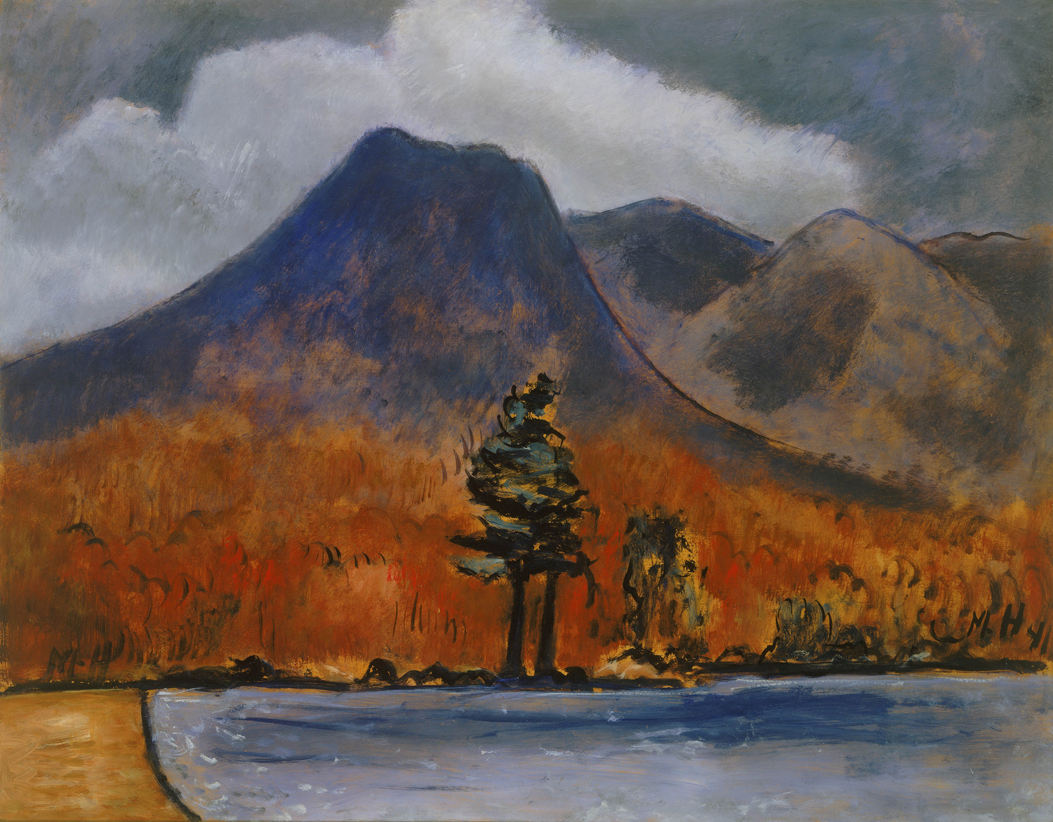 MARSDEN HARTLEY  (1877-1943)   Mt. Katahdin , 1941 Oil on masonite 22 x 28 inches Private Collection