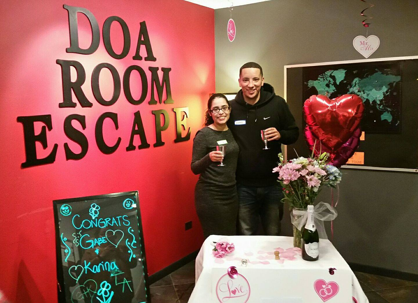 "B96 ""The J Show"" producer and host, Gabe Ramirez and his fiancee, Karina, celebrate their engagement at D.O.A.!"