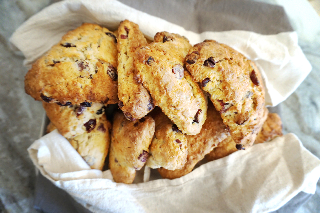 I make these scones every year for our family holiday brunch. I have tried to vary the recipe but always seem to come back to cranberry. These aren't too sweet and go great with coffee and conversation.