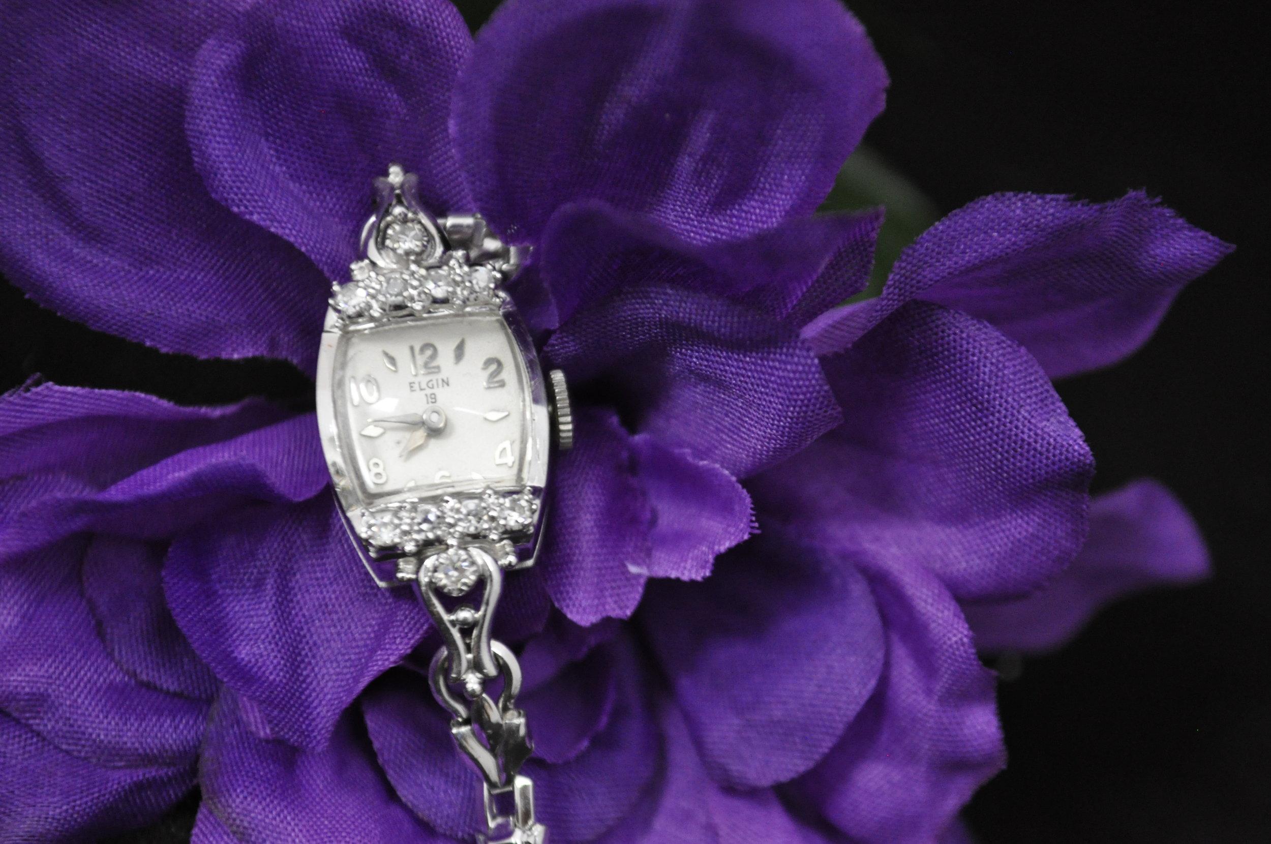Elgin 19J Women's Diamond Watch