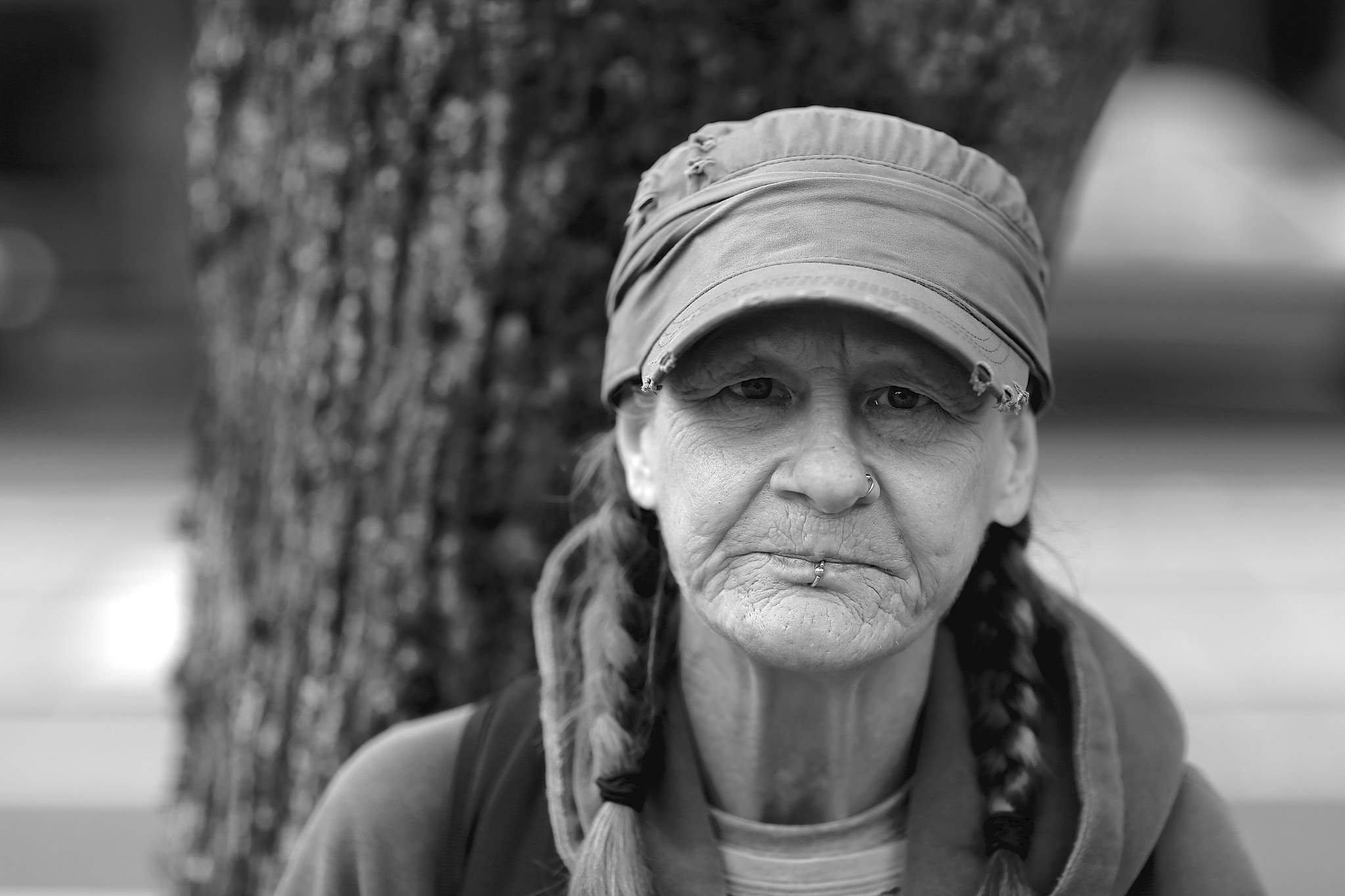 A homeless woman in Portland, Oregon