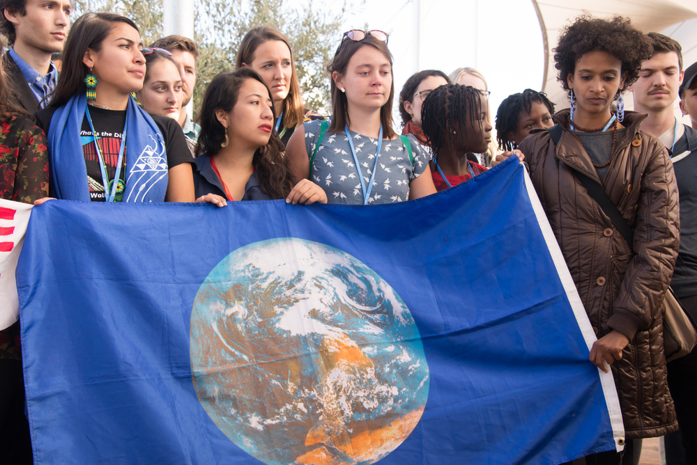 A youth climate justice protest in Morocco. photo:  Ryan Rodrick Beiler/shutterstock
