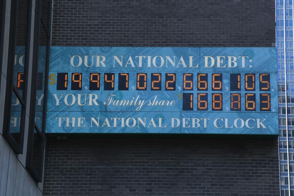The national debt clock in New York City. Photo:Leonard Zhukovsky/shutterstock