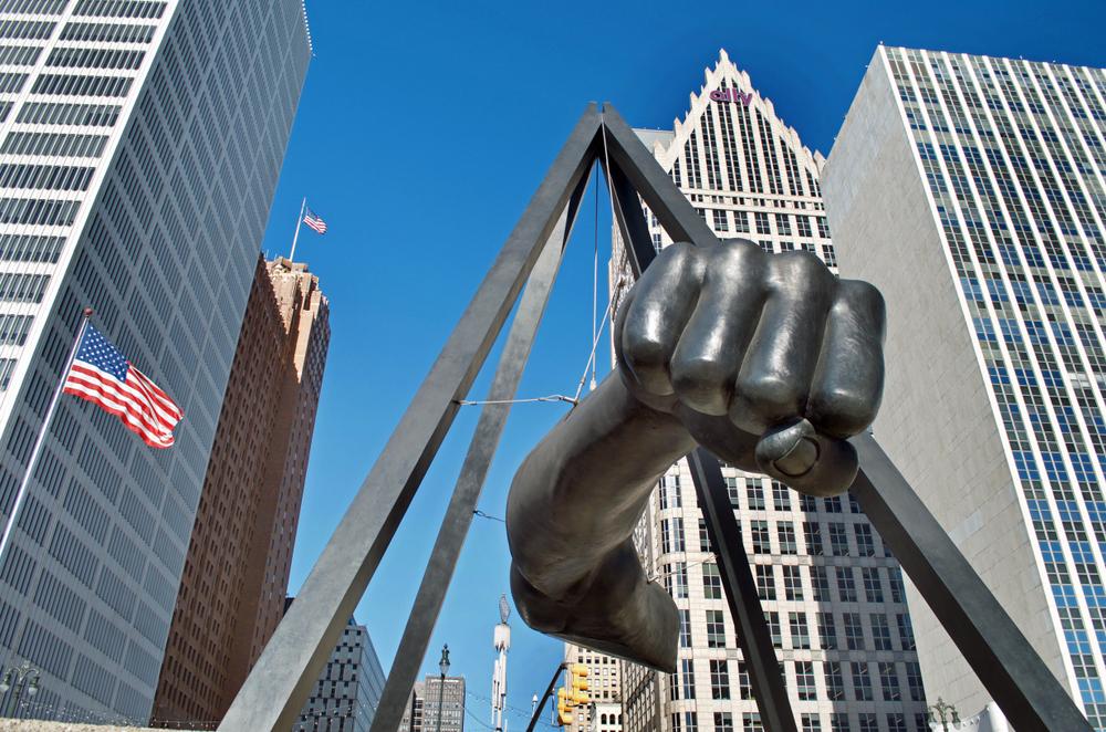 "Monument to Joe Louis in Detroit, ""The Fist."" Photo:Linda Parton/shutterstock"