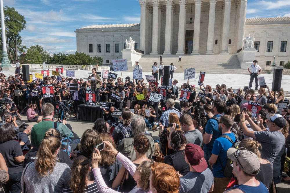 A protest at the U.S. Supreme Court over the handling of the Brett Kavanaugh nomination. bakdc/shutterstock