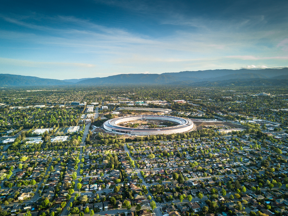 Thanks to zoning rules, only low-density housing is allowed in many areas near Apple's new headquarters in silicon valley. Uladzik Kryhin/shutterstock