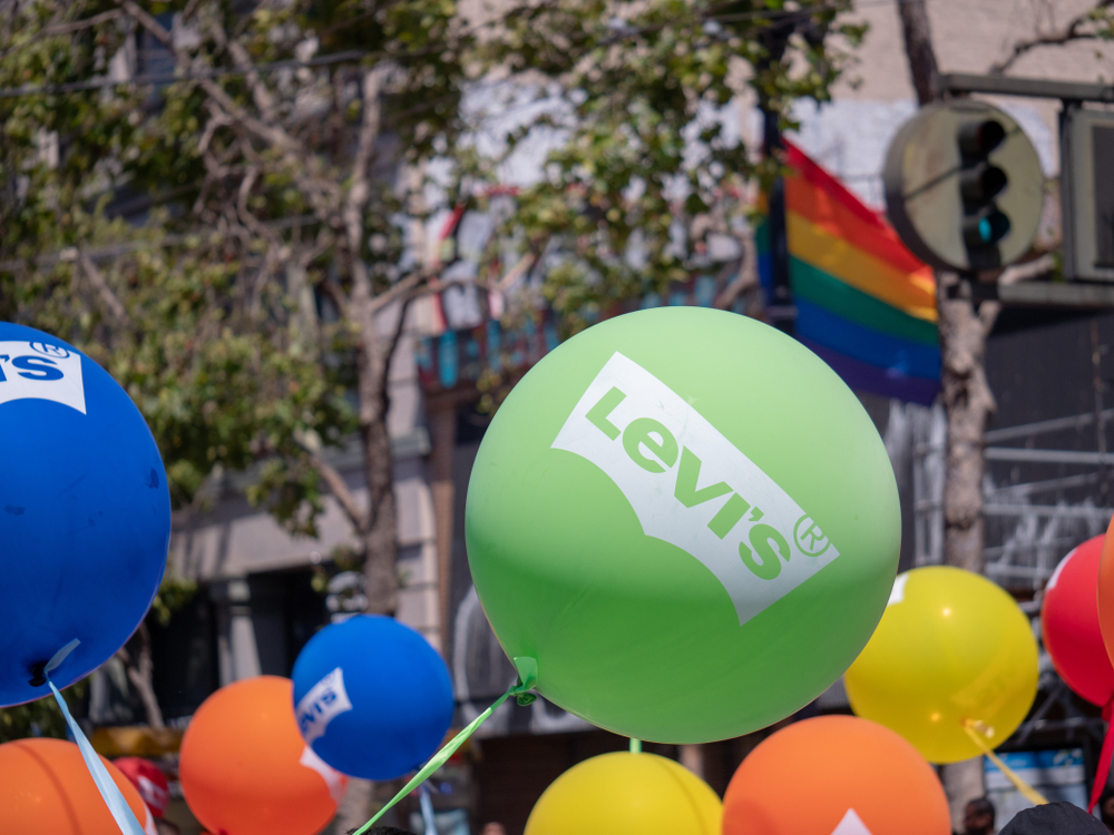 Levi's balloons flying outdoors at a LGBT Pride festival in San Francisco. David Tran Photo/shutterstock