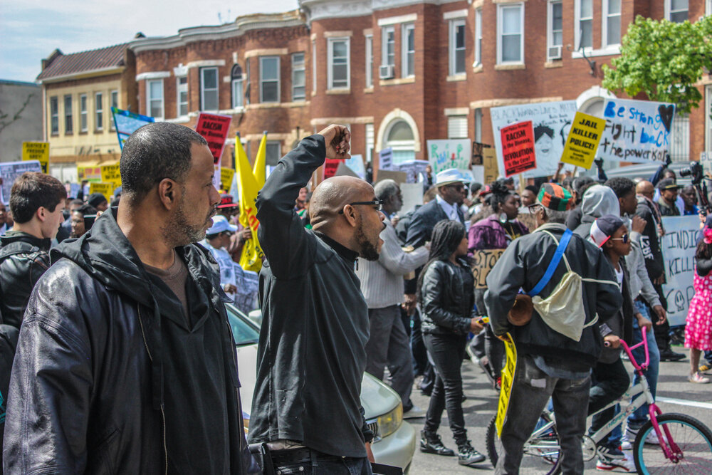 a protest in baltimore in 2015, after freddie gray died in policy custody. Andrew Stefan/shutterstock