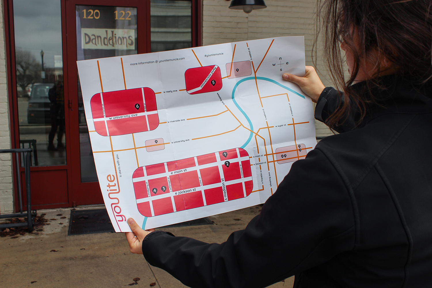 Double Sided—Side One: Map of Muncie; Side Two: Brief Questionairres from Companies
