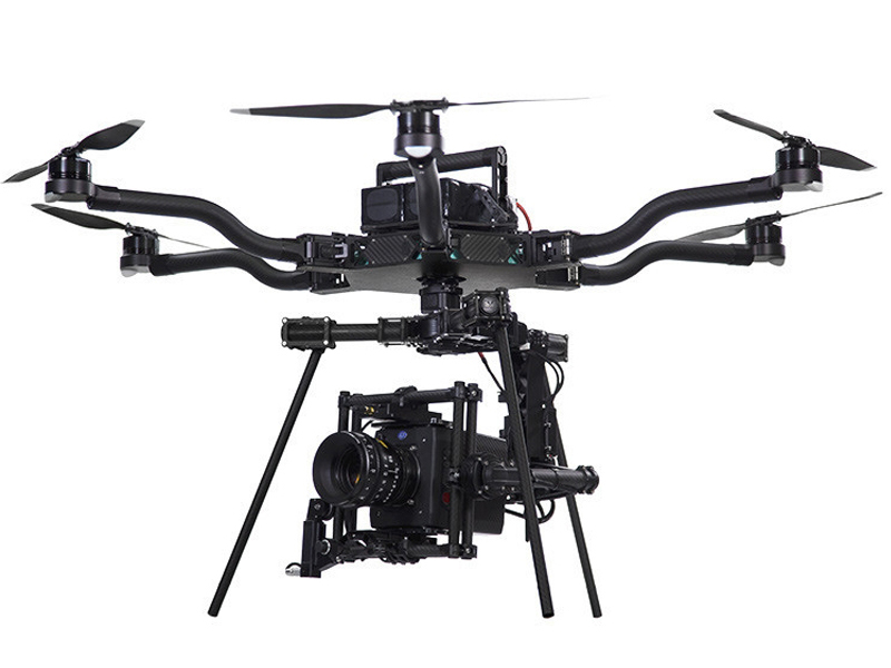 ALTA 6  If you need the ultimate production value, we recommend the Alta 6. It is a large hexacopter capable of carrying most cameras including the Red or the Arri Alexa Mini. So, if you are looking for the best in aerial film making, this is it! In addition to the standard bottom-mount gimbal, the Alta 6 also has a top-mount gimbal for very unique shooting angles.